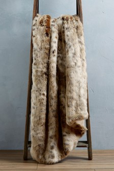 Natural Animal Faux Fur Throw