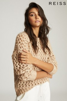 Reiss Camel Natalie Open-Knit Oversized Jumper