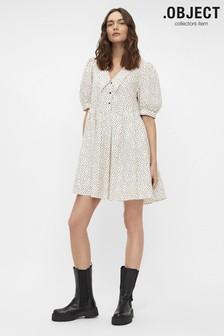 OBJECT Beige Polka Dot Oversized Collar Nour Dress
