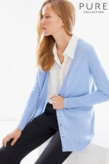 Pure Collection Blue Cashmere Boyfriend Cardigan