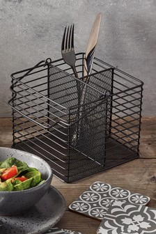Black Wire Cutlery Caddy