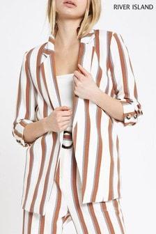 River Island Tan Stripe Soft Blazer