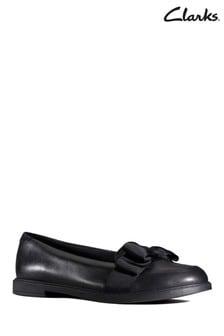 Clarks Black Scala Shine Youth Shoe