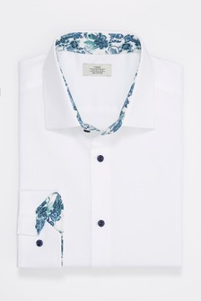 Regular Fit Double Cuff Floral Trim Detail Shirt