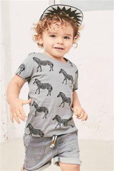 Zebra Printed Short Sleeve T-Shirt (3mths-6yrs)