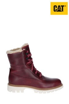 CAT® Lifestyle Red Basis Faux Fur Lace-Up Boots