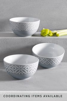 Set of 3 Geo Embossed Dip Bowls
