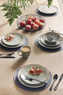 12 Piece Green Reactive Dinner Set & Dinnerware | Dinner Sets Plates \u0026 Crockery | Next UK