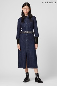 AllSaints Indigo Denim Polly Shirt Dress