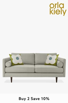 Orla Kiely Mimosa Medium Sofa with Walnut Feet