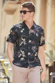 Short Sleeve Oriental Print Shirt