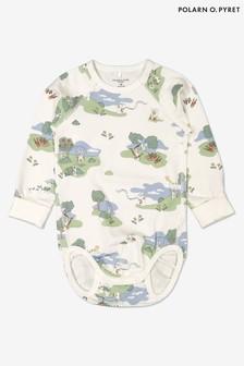 Polarn O. Pyret Natural GOTS Organic Rabbit Print Babygrow