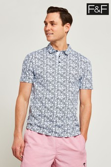 F&F Blue Ditsy Printed Polo