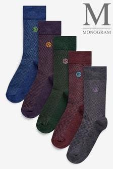 Pindot Spot Monogram Embroidered Socks Five Pack