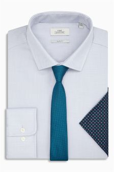 Textured Slim Fit Shirt With Tie And Pocket Square