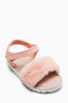 Faux Fur Sandals (Younger)