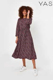Y.A.S Sustainable Navy Floral Midi Vicky Dress