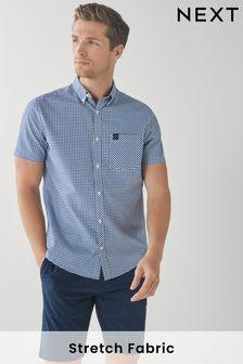 Regular Fit Short Sleeve Gingham Stretch Oxford Shirt