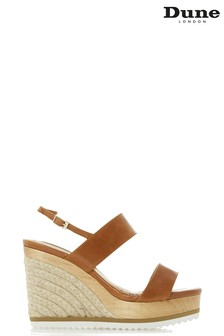 Dune London Tan Leather Karii DB Two Part Colour Slice Wedges