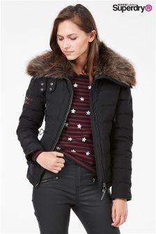 Exclusive To Label Superdry Black Down Fur Collar Jacket