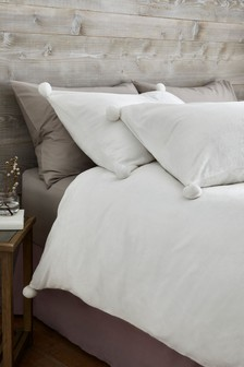 Fleece Pom Pom Duvet Cover And Pillowcase Set