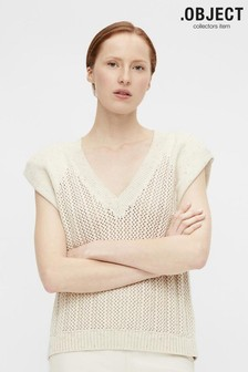 OBJECT Beige Knitted Hannah Vest