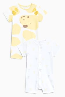 Giraffe Rompers Two Pack (0mths-2yrs)