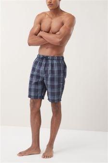 Seersucker Check Long Swim Shorts