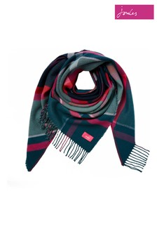 Joules Blue Wilstow Triangle Checked Scarf