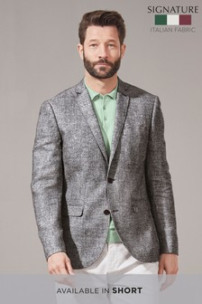 Signature Textured Linen Blend Slim Fit Blazer