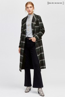 Warehouse Green Check Double Breasted Coat