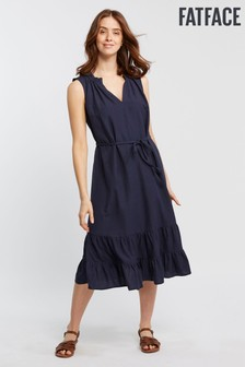FatFace Blue Cecille Midi Tiered Dress