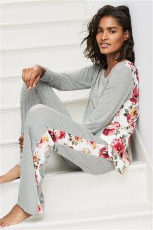 Panelled Long Sleeve Pyjamas