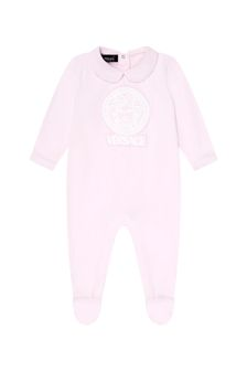 Versace Baby Girls Pink Cotton Babygrow