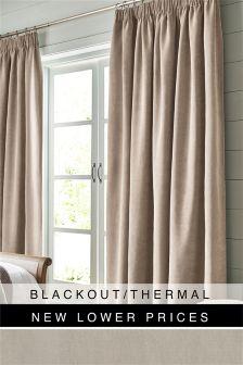 Soft Velour Pencil Pleat Blackout/Thermal Curtains