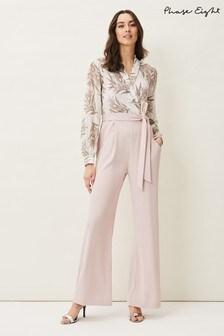 Phase Eight Pink Gracen Palm Print Bodice Jumpsuit