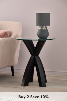 Oak And Glass Side Table / Bedside