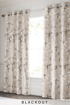 Cotton Sateen Magnolia Blackout Eyelet Curtains