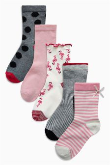 Flamingo Socks Five Pack (Younger)