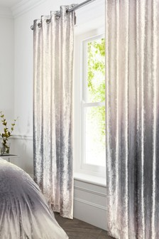 Ombre Velvet Blackout Lined Eyelet Curtains