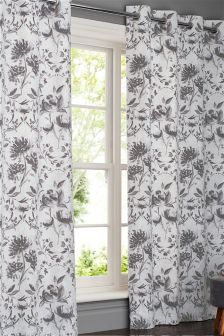 Watercolour Floral Damask Eyelet Curtains