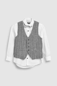 Linen Mix Stripe Waistcoat Set (12mths-16yrs)