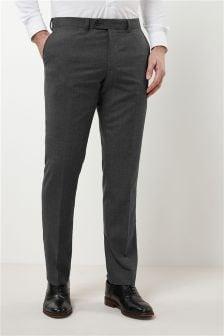 Textured Slim Fit Plain Front Trousers