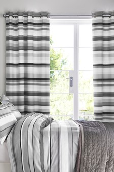 Mono Stripe Blackout Lined Eyelet Curtains