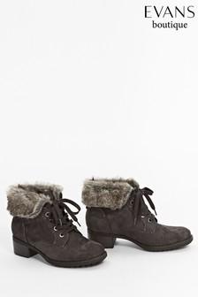 Evans Grey Faux Fur Cuff Lace-Up Boots