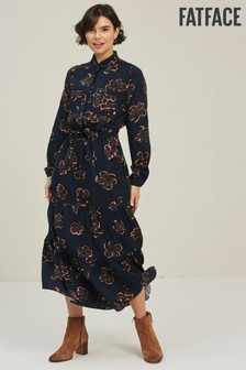 FatFace Blue Mary Graphic Bloom Shirt Dress