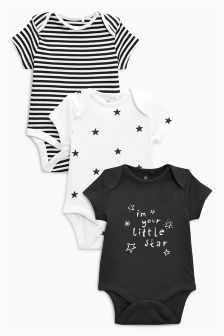 Short Sleeve Bodysuits Three Pack (0mths-2yrs)
