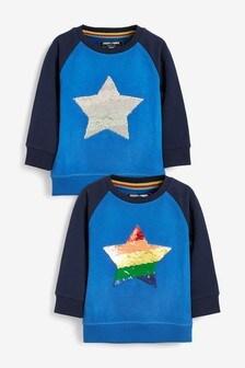 Rainbow Sequin Star Crew Top (9mths-7yrs)