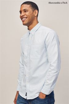Abercrombie & Fitch Blue/White Stripe Oxford Shirt