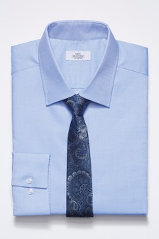Textured Shirt With Paisley Pattern Tie Set